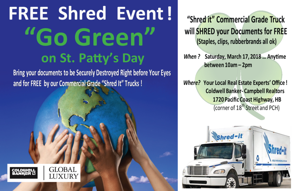Shred your old documents for FREE on March 17, 2018 10am to