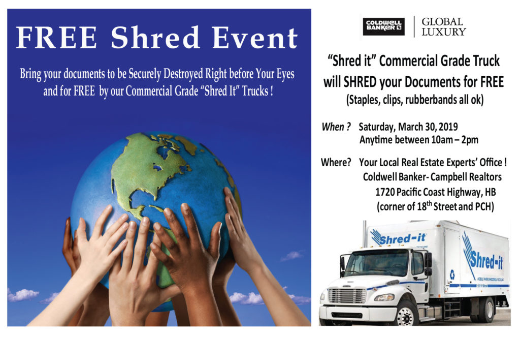 Shred your old documents for FREE on March 30, 2019 10am to 2pm